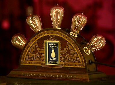 Thomas Edison Mazda Lamp lighted display sign antique tipped light bulb vintage