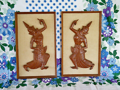 Vintage Retro Pair Wall Hanging / Art - Teak Thai Temple Dancer - Pick Up Bris