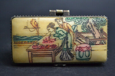 Collectible Decor Handwork Colored Drawing painting Carving belle Jewel Box