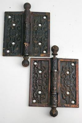 "Antique Hardware Victorian Ornate Butt Hinges 1 Pair4"" X 4"" Cast Iron AH09181714"