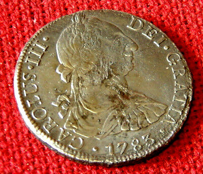 Lovely 1783 BUST PILLAR 8REALE from EL CAZADOR (THE HUNTER ) shipwreck 1784