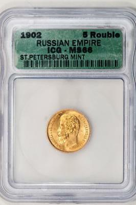 1902 ICG MS66 Russian Empire Gold 5 Rouble St. Petersberg Mint Item#M1462
