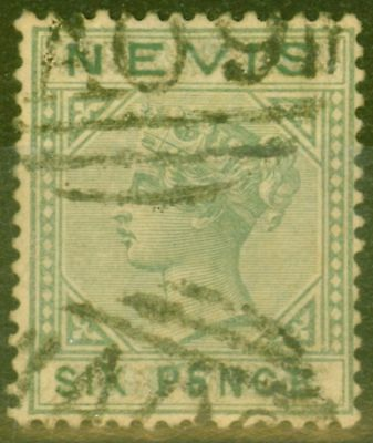 Nevis 1883 6d Green SG32 Forgery using Cyprus SG31 Value Tablet & Country Erased