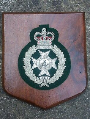 A Vintage Royal Green Jackets Wooden Shield Plaque