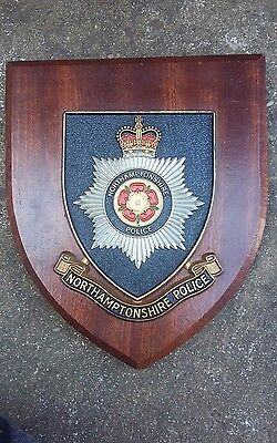 A Vintage Northamptonshire Police Wooden Shield Plaque