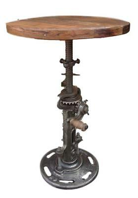 Industrial Style Iron Side Table - Moving Gears - Adjustable Height - Wood Top