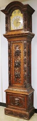 Rare Antique English Carved Oak Musical 8 Bell 5 Gong Grandfather Longcase Clock