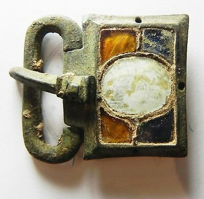 Zurqieh -Aa10001- Late Roman. Stunning Glass Inlaid Bronze Buckle. 400 - 500 A.d