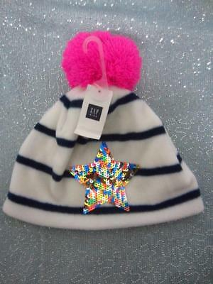 Girls GAP Kids Pro Fleece Pom-Pom Sequin Star Hat Ivory Frost Size S/M NWT