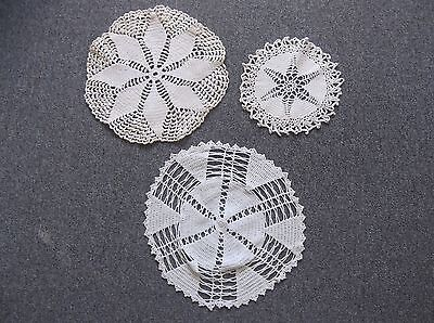 Three Vintage Off-White Hand Made Crocheted Round Doilies