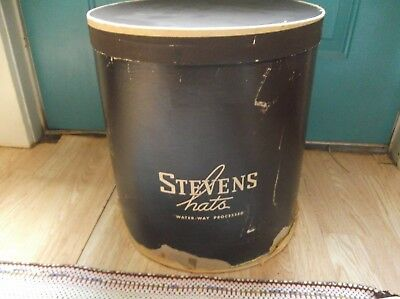 Large Vintage Stevens Hats Dark Brown Women's Cardboard Hat Box