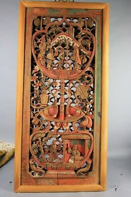 19th/20th C. Chinese Carved and Painted Wood Panel