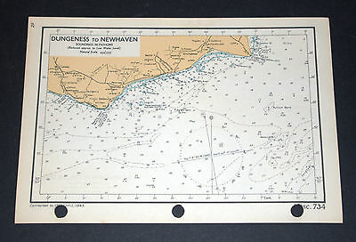 DUNGENESS to NEWHAVEN to CHICHESTER - Two WW2 vintage Naval Maps 1943
