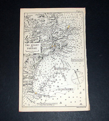 Pilot's Antique Chart THE START TO TORBAY 1893