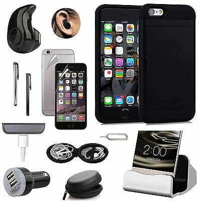 Black Pocket Wallet Case Charger Wireless Earphones Accessory For iPhone 7 Plus