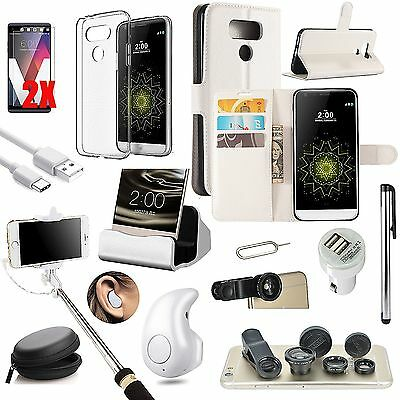 White Leather Case Cover Bluetooth Headset Monopod Fish Eye Accessory For LG G6