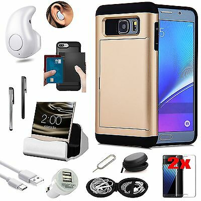 Gold Card Slot Case Bluetooth Headset Accessory Pack For Samsung Galaxy S7 Edge