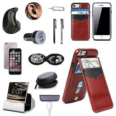 Coffee Brown Leather Case Cover Bluetooth Earphones Accessory Pack For iPhone 7