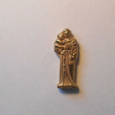 VTG golden POCKET STATUE Saint ANTHONY  & JESUS tiny Religious miniature