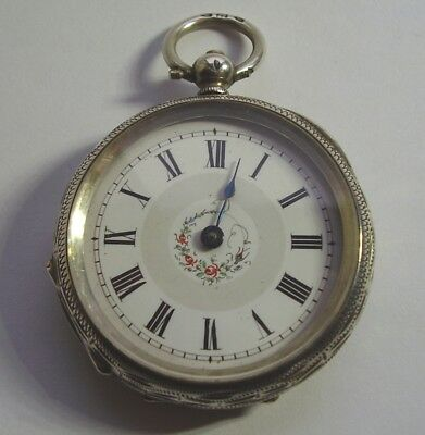 ANTIQUE SILVER POCKET WATCH LADIES FOB WATCH FOLIATE ENGRAVED FOR REPAIR c 1880