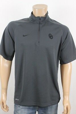 Mens Nike Dri Fit OU Gray Short Sleeve 1/4 Zip Athletic Polo Shirt Size XL
