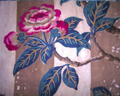 BEAUTIFUL FRAGMENT EARLY 19th CENTURY REGENCY STRIPE BLOCK PRINT CHINTZ, ROSES