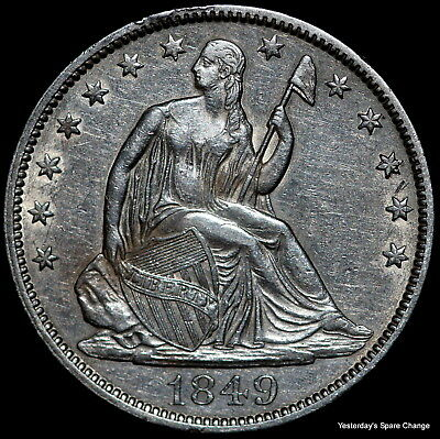 1849-P Nice High Grade CLEANED Seated Liberty Silver Half Dollar!!