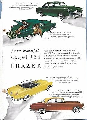 VINTAGE FRAZER AUTO ADVERTISING ORIGINAL 1951 MAGAZINE PAGE # 89 of MANY