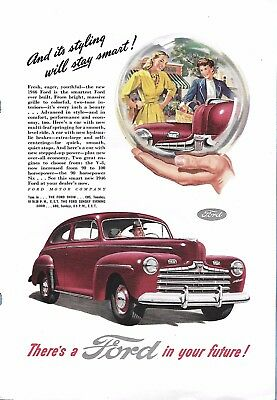 VINTAGE FORD AUTO ADVERTISING ORIGINAL 1946 MAGAZINE PAGE # 97 of MANY