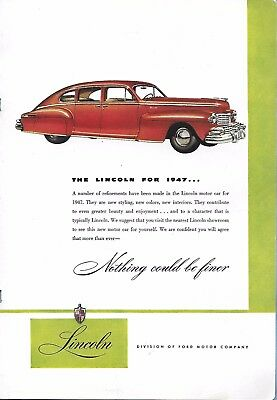 VINTAGE LINCOLN  AUTO ADVERTISING ORIGINAL 1947 MAGAZINE PAGE # 98 of MANY