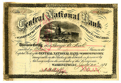 Central National Bank, 1878 Issued Stock Certificate