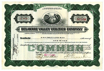 Delaware Valley Utilities Co., 1931 Issued Stock Certificate