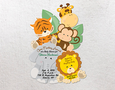Personalized boy girl baby shower invitations with envelopes jungle personalized boy girl baby shower invitations with envelopes jungle invites card filmwisefo