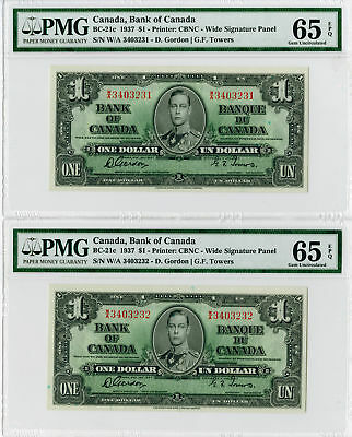 Bank of Canada, 1937 Issue $1 BC-21c  Sequential Banknote Pair PMG Gem Unc 65