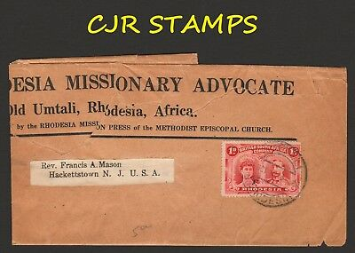 Rhodesia 1913  Methodist Missionary Journal Wrapper  -   Old Umtali To  Usa