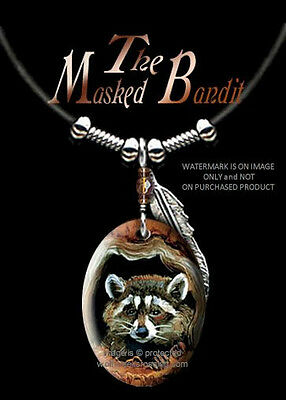 MASKED BANDIT RACCOON NECKLACE for MALE or FEMALE ART WILD NATURE  FREE SHIP LBR