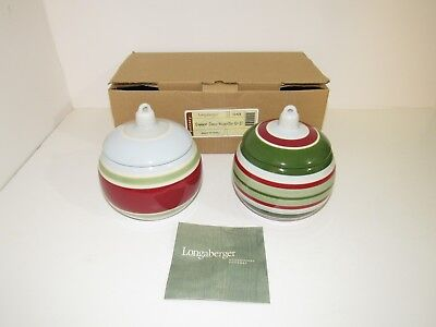 New Longaberger Pottery Red Green Blue Striped Ornament Candle Holders Set Of 2
