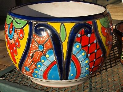 Hand Painted Talavera Planter / Hand Crafted Artisan Pot Bright Colors 9.5""