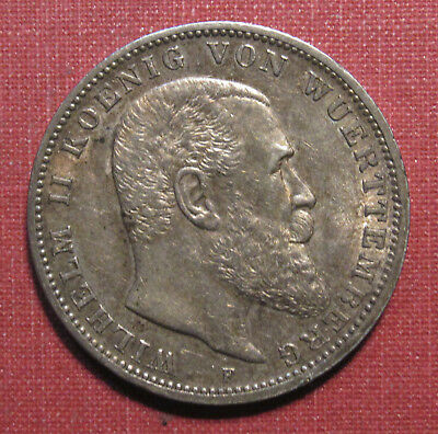 1912F Wurttemberg, German States 3 Mark- Sharp Details, Attractively Toned!