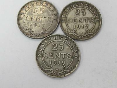 Two 1917 And A 1919 Silver 25 Cents Newfoundland Combo 3 Coin Lot