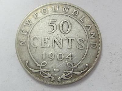 1904 H Silver 50 Cents Newfoundland Better Date Great 4 Book
