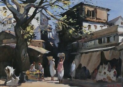 "Original Painting by G.D. Ajul Raj - ""Women at the Market""  California-India"