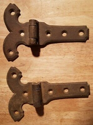 """Lot of 2 Original Antique 6"""" Solid Brass Strap Ice Box Hinges   Matched Pair"""