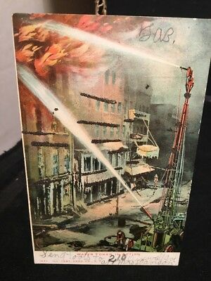 Antique PHOTO POSTCARD Fire Fighting, Water Tower In Action, c1907 New Haven