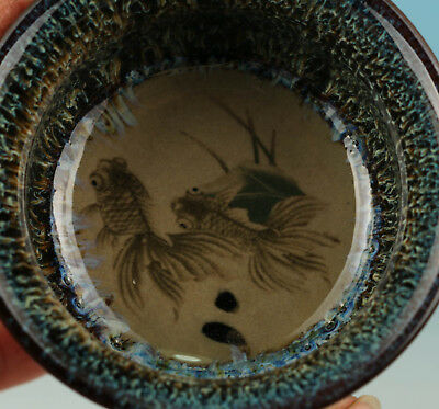 Chinese Porcelain Handmade Painting Fish Statue Bowl Cup