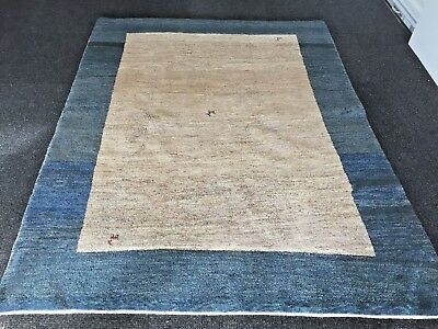Persian Qashqai blue and beige solid pattern Gabbeh rug perfect condition 5x7 ft