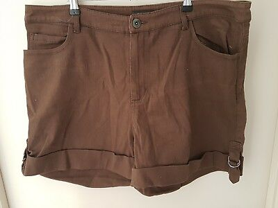 City Chic Size 18~Choc Brown Summer Cargo Shorts~Exc Cond~Lots Of Pockets