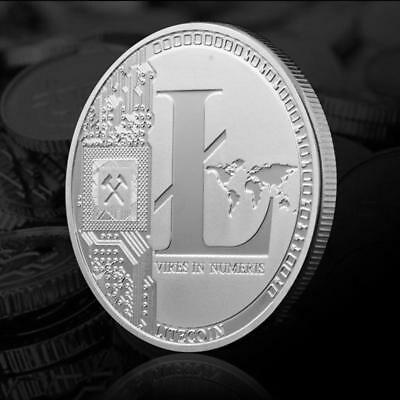 Hot Sale!Silver Plated Commemorative Litecoin Collectible Iron Miner Coin XN9 US