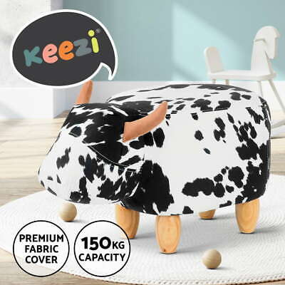 Kids Ottoman Animal Stool Toy Cow Chair Pouffe Foot Rest Leather Sponge Seat