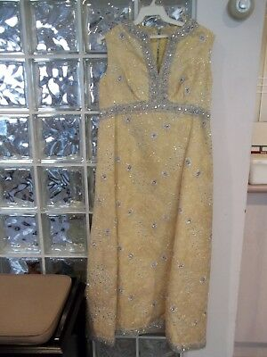 1960-70's Vintage Formal Dress Gown Yellow w/ Silver & Gold Stitching 4-6 Petite